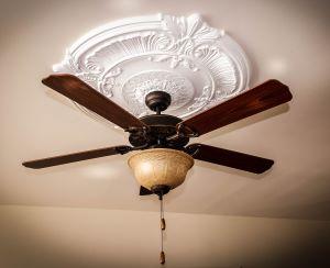 Ventilateur de plafond au centre d'une rosace